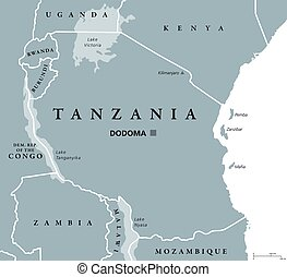 Tanzania political map with capital Dodoma, national...