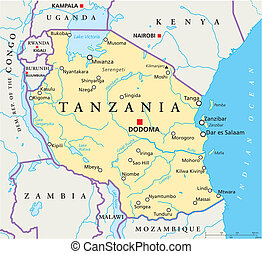 Political map of Tanzania with the capital Dodoma, national borders, most important cities, rivers and lakes. Vector illustration with english labeling and scale.