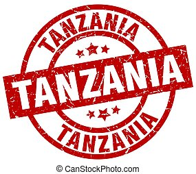 Tanzania red round grunge stamp