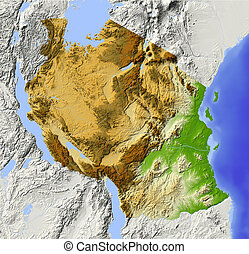 Tanzania. Shaded relief map. Surrounding territory greyed out. Colored according to elevation. Includes clip path for the state area.