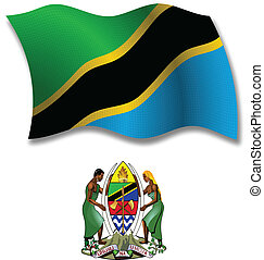 tanzania shadowed textured wavy flag and coat of arms against white background, vector art illustration, image contains transparency transparency