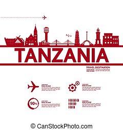 Tanzania travel destination grand vector illustration.