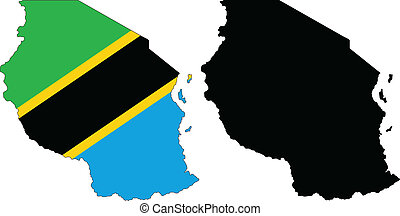 tanzania - vector map and flag of Tanzania with white ...