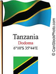 tanzania wavy flag and coordinates