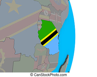 Tanzania with flag on 3D globe