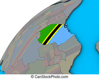 Tanzania with flag on 3D globe