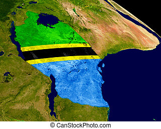 Tanzania with flag on Earth