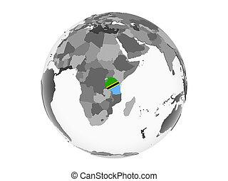 Tanzania with flag on globe isolated