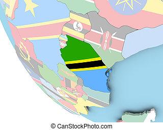 Tanzania with flag on globe