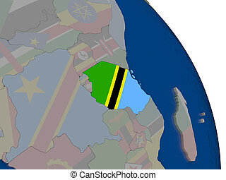 Tanzania with flag on globe