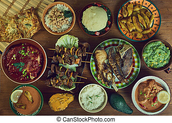 Tanzanian cuisine, Traditional assorted African dishes, Top view.