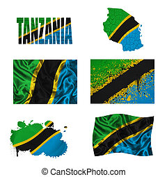 Tanzania flag and map in different styles in different textures