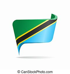 Tanzanian flag map pointer abstract layout. Vector illustration.