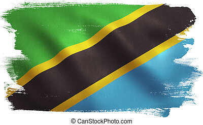 Tanzanian flag with fabric texture. 3D illustration.