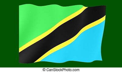 Tanzanian flag . Waving - Flag animation Useful for editors....