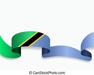 Tanzanian flag wavy abstract background layout. Vector illustration.