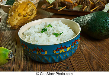 Wali wa nazi, white rice in coconut milk , Tanzanian cuisine, Traditional assorted African dishes, Top view.