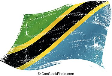 Tanzanian flag in the wind with a texture