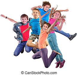 tanzen, aus, freigestellt, springende , hintergrund, weißes, kinder, glücklich