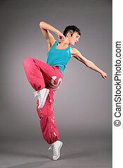 tanzen, frau, in, sportkleidung