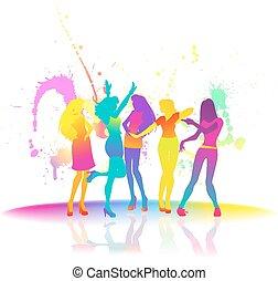 tanzen, frauen, an, disko