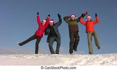 tanzen, friends, mit, weihnachtshüte, auf, schnee