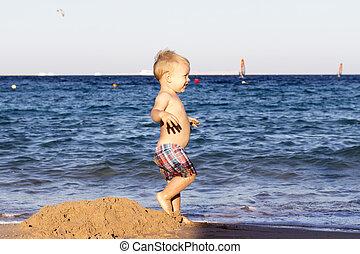 tanzen, kleinkind, junge, strand, aganst, see ansicht