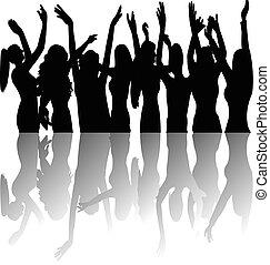 tanzen, m�dchen, an, party