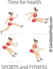 tanzen, m�dchen, rotes , sport hose, karikatur, wohnung, minimalismus, zeichen, vektor, abbildung, set.
