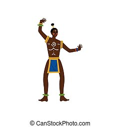 tanzen, mann, stammes-, eingeboren, abbildung, traditionelle , hell, vektor, afrikanischer mann, kleidung