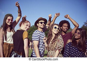 tanzen, musik, fest, glücklich, friends