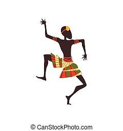 tanzen, tänzer, rituell, tanz, abbildung, traditionelle , hell, vektor, afrikanisch, ethnisch, eingeboren, kleidung, oder, leute, mann