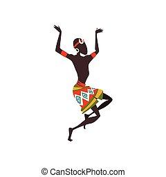 tanzen, tänzer, rituell, tanz, abbildung, traditionelle , hell, vektor, afrikanisch, ethnisch, eingeboren, mann, kleidung, oder, leute, mann