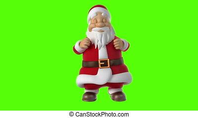 tanzen, weihnachtsmann, auf, a, grüner hintergrund