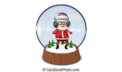tanzen, weihnachtsmann, in, glas, kugelförmig