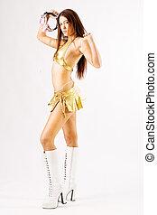 tanzende frau, in, gold bikini