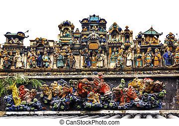 taoísta, guangzhou, cerámico, ancestral, c, dragones,...