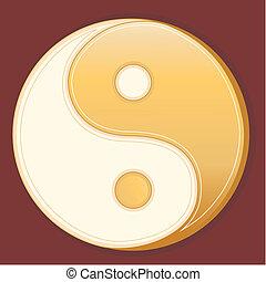 Tao Symbol - Golden Yin Yang mandala of Tao belief on...