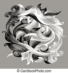 Tao - Illustration with two unseparable weaved plants as...