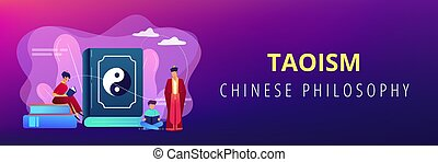 Big book with yin-yang and taoism family reading, tiny people. Yin yang Taoism, Daoism and Confucianism, Taoism Chinese philosophy concept. Header or footer banner template with copy space.