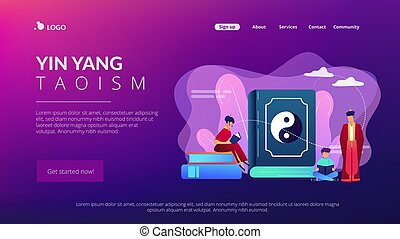 Big book with yin-yang and taoism family reading, tiny people. Yin yang Taoism, Daoism and Confucianism, Taoism Chinese philosophy concept. Website homepage landing web page template.