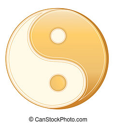 Taoism Symbol - Golden Yin Yang mandala of Tao faith on a...