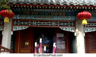 Taoist statues Buddha in door