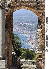 taormina, イタリア, シシリー, amphitheatre