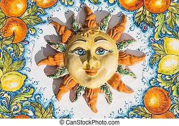 taormina, 태양, 도자기, 이탈리아, 얼굴, sicilian