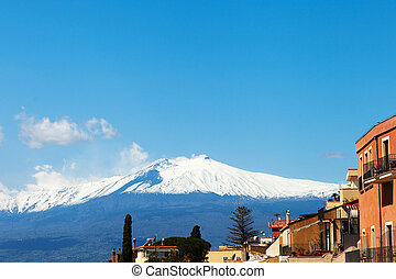 Taormina and Etna. - View to Etna volcano from Taormina...