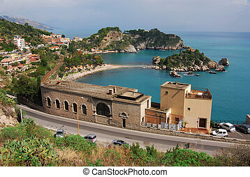 Taormina and Isola Bella, Sicily, Italy - Taormina, small...