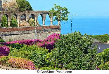 Taormina city flowers scene, Sicily, Italy