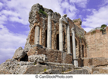 Taormina greek amphitheater in Sicily Italy
