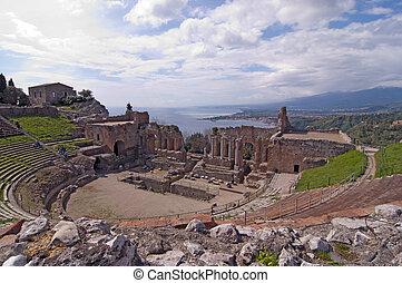 Taormina greek amphitheater in Sicily Italy
